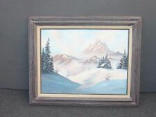 Vintage Oil on Canvas Painting PICTURE Snow Capped Mountains Cabin by Ann Mc