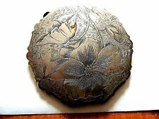 "Vintage Classic Exquisite ""Floral Themed"" Silver Plated Thin Compact"