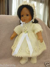 Baby Doll Vintage Dress, Bonnet & Booties In Lemon to fit 12-14 Inch Dolls