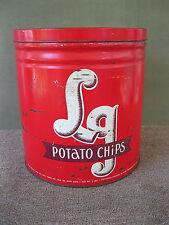 Antique Tin LG EL-GE Potato Chip Vintage Advertising, York PA, Red White Brown