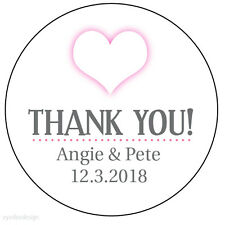 35 x Personalised Pink Heart Wedding Thank you Stickers Favour Labels 37mm- 196
