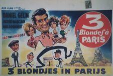 """""""3 BLONDES A PARIS"""" Affiche originale belge entoilée Daniel GELIN (TOUR EIFFEL)"""