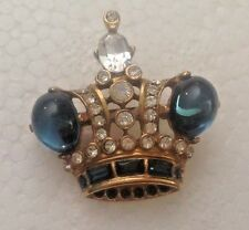 Vintage Butler and Wilson B&W Crown Pin Brooch with Rhinestones and Blue Stones