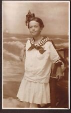 YOUNG GIRL IN SAILOR OUTFIT RPPC 1904 1918 POSTCARD Ocean City  N.J.