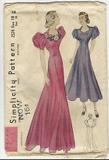 Vtg 1930's Simplicity PATTERN 2524 Princess Bias Evening Gown Bust 36 Unused