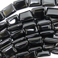 "14mm black onyx rectangle beads 15.5"" strand"