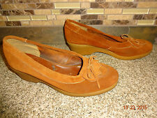 Vintage Made Spain Womens Approx Sz 7.5 Mocs Brown Suede Rubber Wedge Heel Shoes