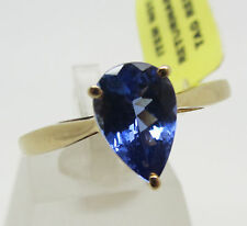 14k yellow gold 1.15ct AAA tanzanite pear cut solitaire ring