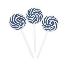 12 BLUE White Swirl Pop Lollipop Wedding Candy Buffet Table Shower Birthday