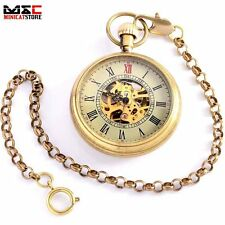 Vintage Copper Open Face Skeleton Mechanical Windup Pocket Watch Pendant Chain