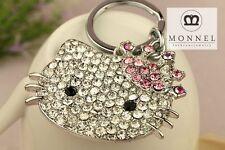 MONNEL KEY CHAIN Z623 Cute Big Hello Kitty Crystal Charm Keychain Key Ring