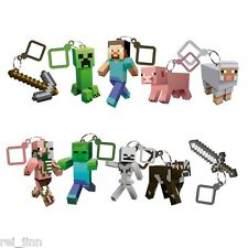 "LOT 10 PCS MINECRAFT HANGER 3"" STEVE CREEPER BACKPACK CLIP 3D TOYS FIGURE"