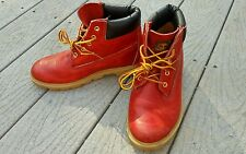 "YOUTH TIMBERLAND 6"" BOOTS 10953 WATERPROOF RED COLOR SIZE 5 WOMENS 6.5"