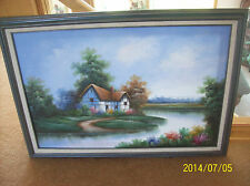 "A Country Thatched Cottage Scene by Artist ""MARTEN"" Original Oil on Canvas"