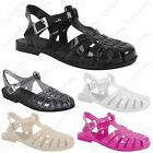 LADIES WOMENS JELLY SANDALS BEACH FLAT FLIP FLOPS RETRO JELLIES BEACH SHOES SIZE