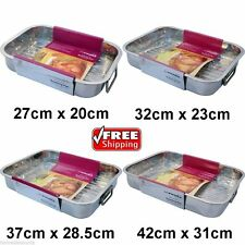 NEW 4PC SET STAINLESS STEEL ROASTING TRAY OVEN BAKING ROASTER TIN 24Hour Service