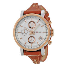 Fossil Original Boyfriend White Silver Dial Brown Leather Ladies ES3837