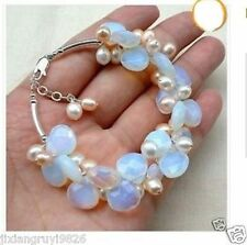 Exquisite Moonstone Fresh Water Pearl bracelet