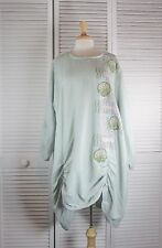 Unity Tunic - Mist Green Linen w/ Art Nouveau  XL by Blue Fish Red Moon Clothing