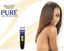 "PURE YAKY WEAVE BY MILKYWAY 100% HUMAN HAIR EXTENSION 10"" #1B"