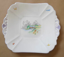 Art Deco SHELLEY Sandwich Plate decorated with Riverside Scene 2122