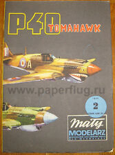 P-40 TOMAHAWK US WWII FIGHTER PAPER MODEL KIT 1/33 by Maly Modelarz 2/1977