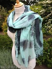 Stunning Mint Green Black Lace and Floral Print Pashmina Shawl Sarong Wrap