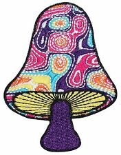 Magic Mushroom Psychedelic Hippie Art Embroidered Iron On Applique Patch P-317