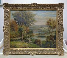 Very Elaborate Panoramic Hillside View Oil Painting w Ornate Antique Style Frame