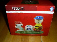 Westland PEANUTS Let's Play Ball Salt & Pepper & Toothpick Holder NEW in box