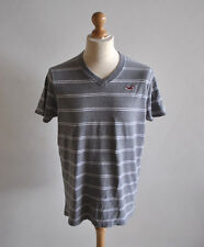Homme hollister gris col v à rayures à manches courtes t-shirt casual jersey taille xl