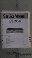 Proton 520 service manual original repair book stereo amp amplifier