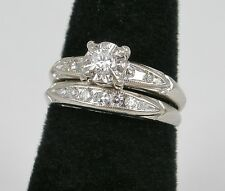 Vintage C1940s/50s 14k White Gold Round Diamond Wedding Ring Set