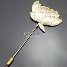 Fab Gold Lotus Rose Flower Cherokee Lapel Brooch Tie Hat Scarf Stick Pin Badge W