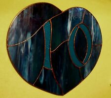 Vintage handcrafted heart shaped STAINED GLASS house number '10'  in vivid blues