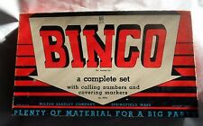 VINTAGE 1930's MILTON BRADLEY BINGO GAME LOT OF CARDS & WOODEN PIECES