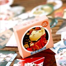 46X Paper Cartoon Cute Cat Washi Masking Sticky Deco Craft Gift Sticker Seal Tag