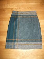 Hobbs  london size 8 green black gold tweed wool skirt used excellent condition