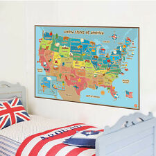 United States Map Symbol Children's Room Home Decal Art Poster DIY Wall Sticker