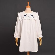 Mädchen Katze Muster weißes Kleid mit langen Ärmeln Frauen Lolita Harajuku Kleid