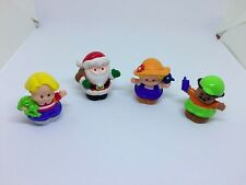 Lot of 4 Little People, Santa Claus, Construction Work, Boy and Girl