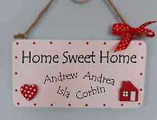 IDEAL GIFT - PERSONALISED HOME SWEET HOME PLAQUE SIGN - VARIOUS COLOURS