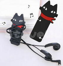Black Cat Headphone Earbud earphone Cord Cable Rubber Winder Manager Organizer