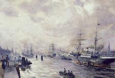 AK: Carl Rodeck - Segelschiffe im Hafen von Hamburg