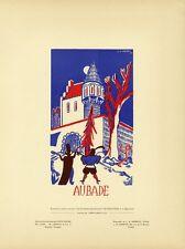 """""""AUBADE"""" Carte crême satinée entoilée d'après la maquette de L.K. DERRYX 1936"""