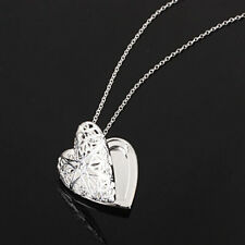 1Pc Silver Plated Love Heart Locket Chain Pendant Necklace Valentines Day Gift