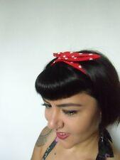 Bandeau foulard cheveux rigide cordon maléable tissu mat fin rouge pois blancs