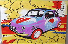 Quadro Fiat 500 pop art pace and love 120x80 fumetto legno tela acrilico olio