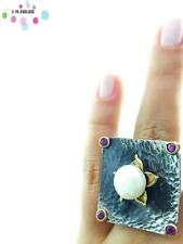 Turkish 925 Sterling Silver Jewelry Authentic Pearl Adjustable Size Ring R1281