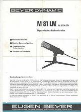 Bedienungsanleitung Notice d ´emploi Handbook Beyer Dynamic M81LM M81N(K)  B187